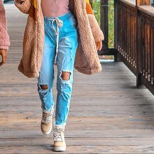 Denim - Drawstring Distressed Denim Jeans